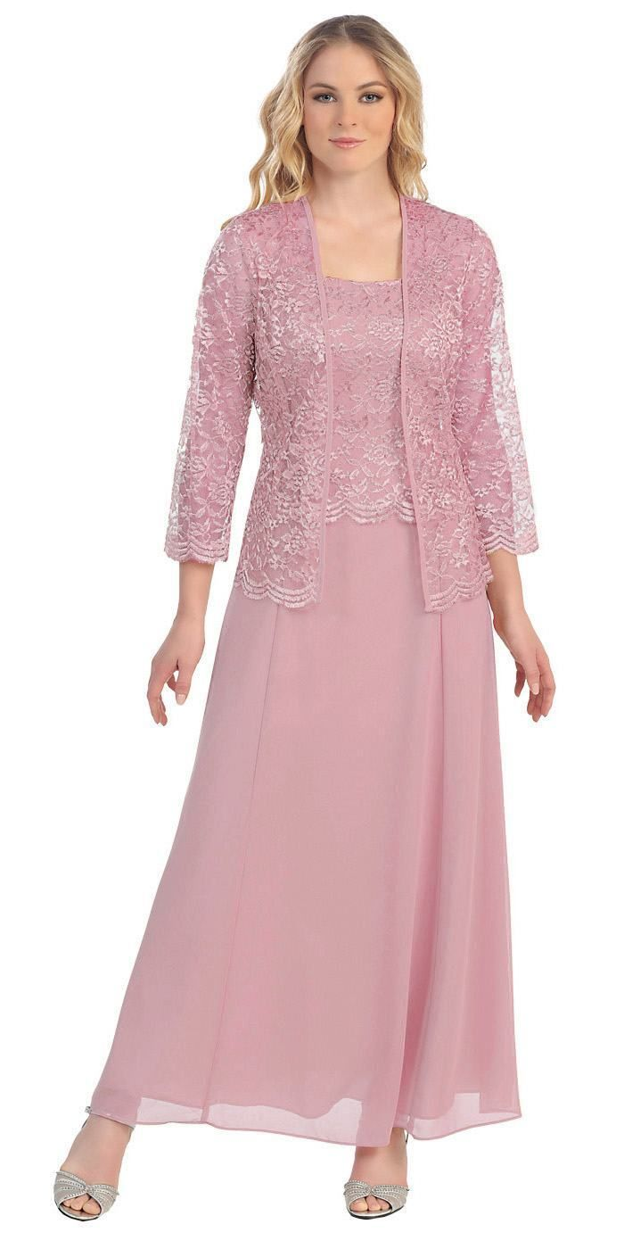 Long Chiffon Plum Mother of Groom Dress Lace 3/4 length Sleeve ...
