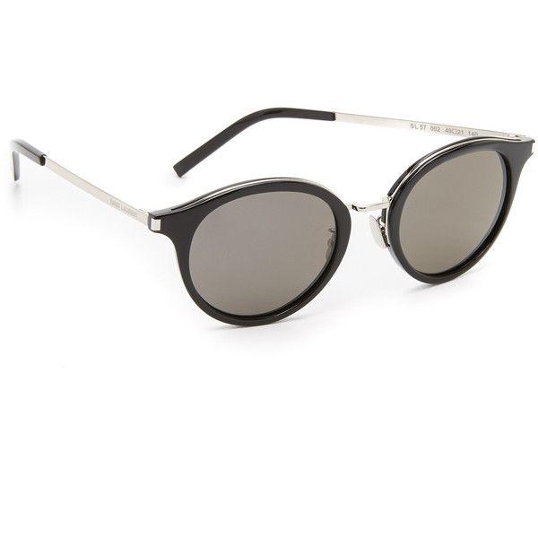 Saint Laurent Mineral Glass Sunglasses (6,940 MXN) ❤ liked on Polyvore featuring accessories, eyewear, sunglasses, round frame sunglasses, round glasses, adjustable glasses, mineral glass sunglasses and yves saint laurent eyewear