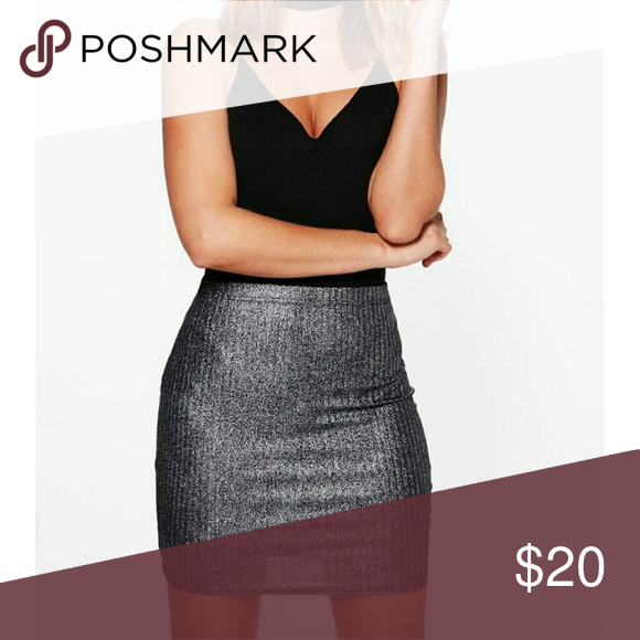 cecbc2719a NWT Metallic Mini Skirt Ribbed short skirt, perfectly paired with any black  top. Skirts