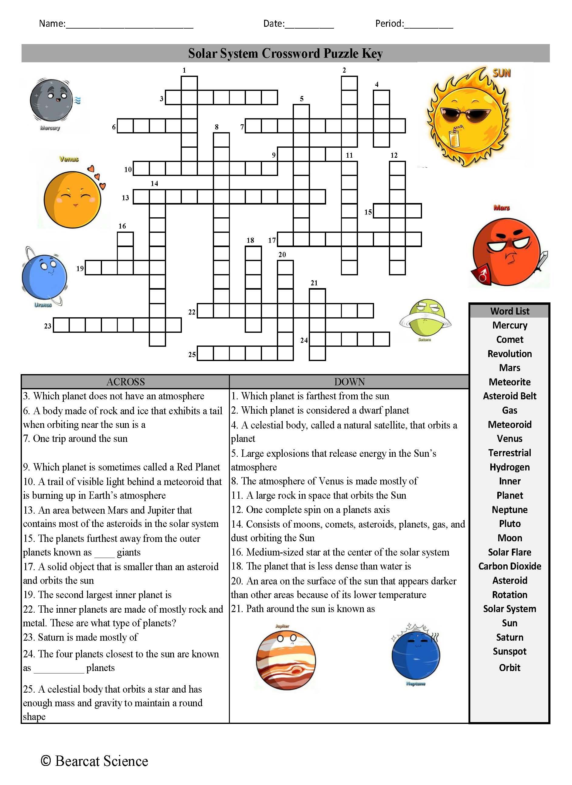 Solar Sytem Crossword Puzzle