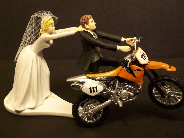 MOTORCYCLE Running Groom and Bride W/Diecast Orange Dirt bike ...