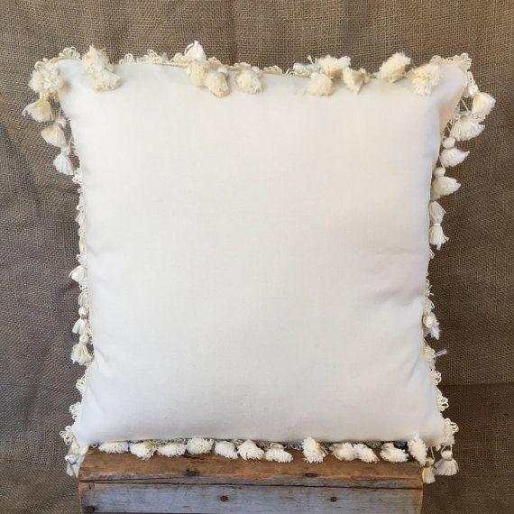 Decorative Pillows With Fringe Part - 32: Tassel Pillow Cover, Holiday Pillow, Boho Pillow Cover, Fringe Pillow,  Homemade Pillows