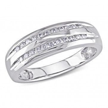 10k White Gold 1/6 CT Diamond TW Anniversary Ring, GH I2-I3