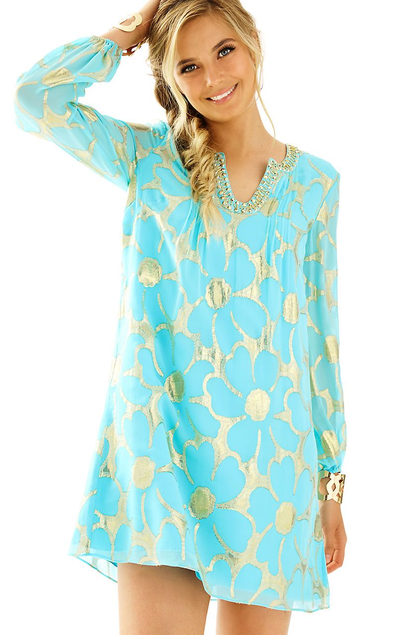 244139f06eaff New Lilly Pulitzer COLBY SLEEVED TUNIC DRESS Silk Floral Clip Chiffon 2