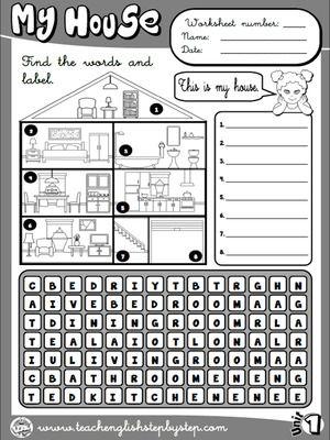 Mi casa - Hoja de Trabajo 1 (B & W versión) | Inglés | Pinterest ...