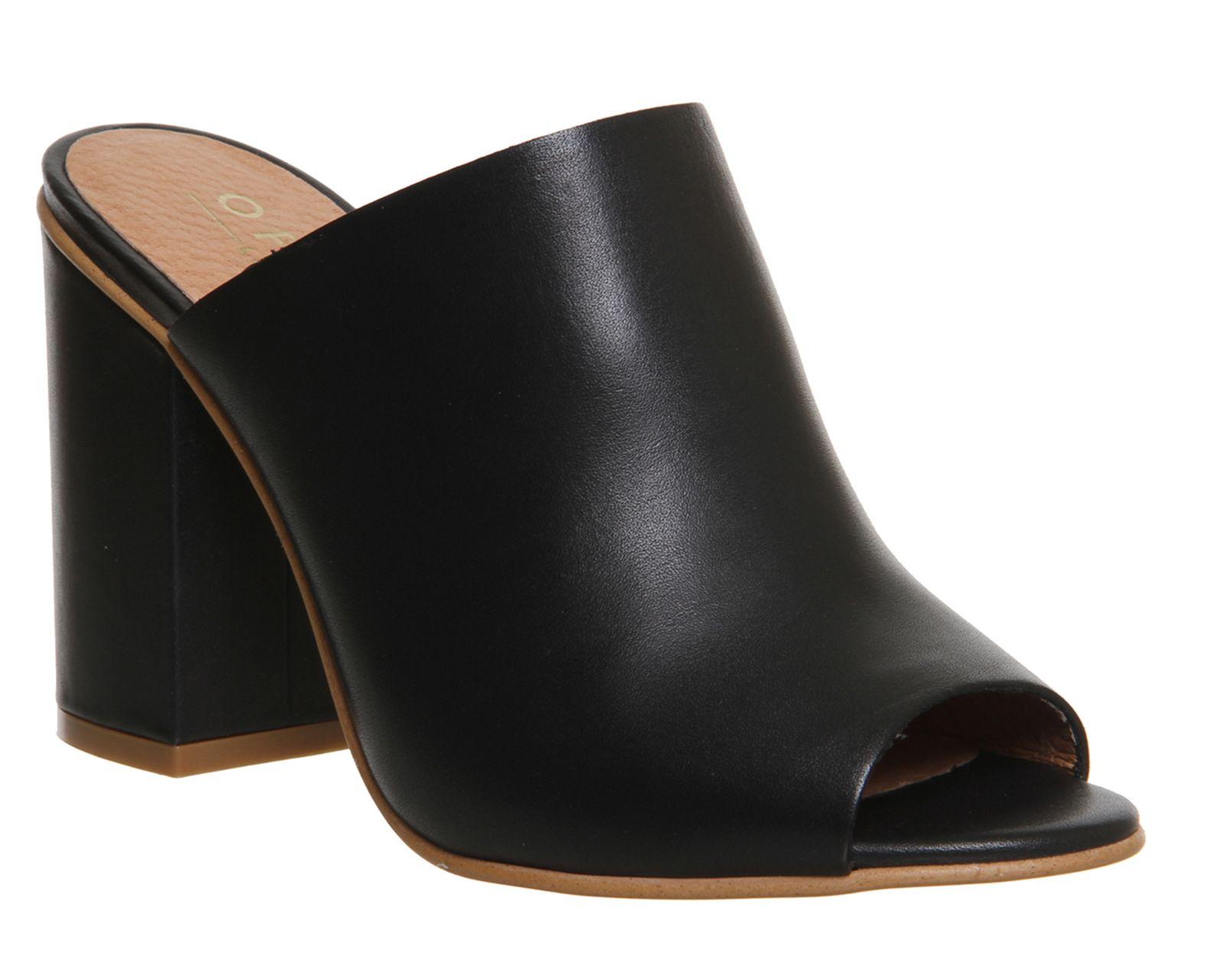 Office Pose Block Heel Mule Black Leather - High Heels