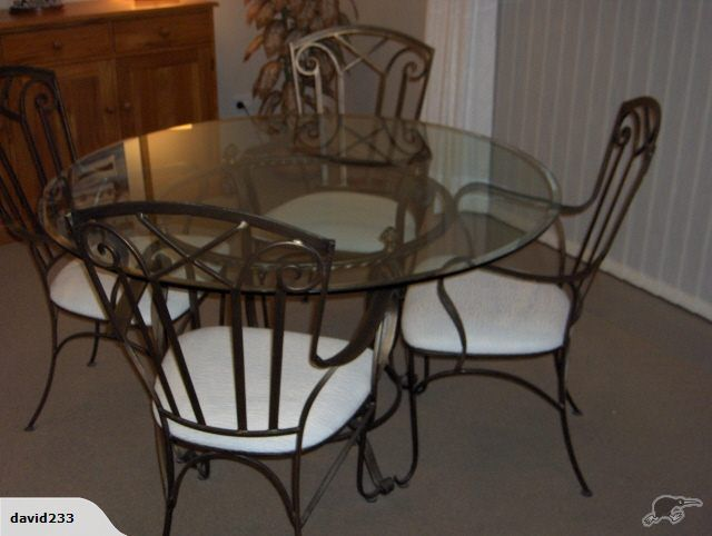 Wrought Iron Glass Dining Table Four Chairs Danske Mobler
