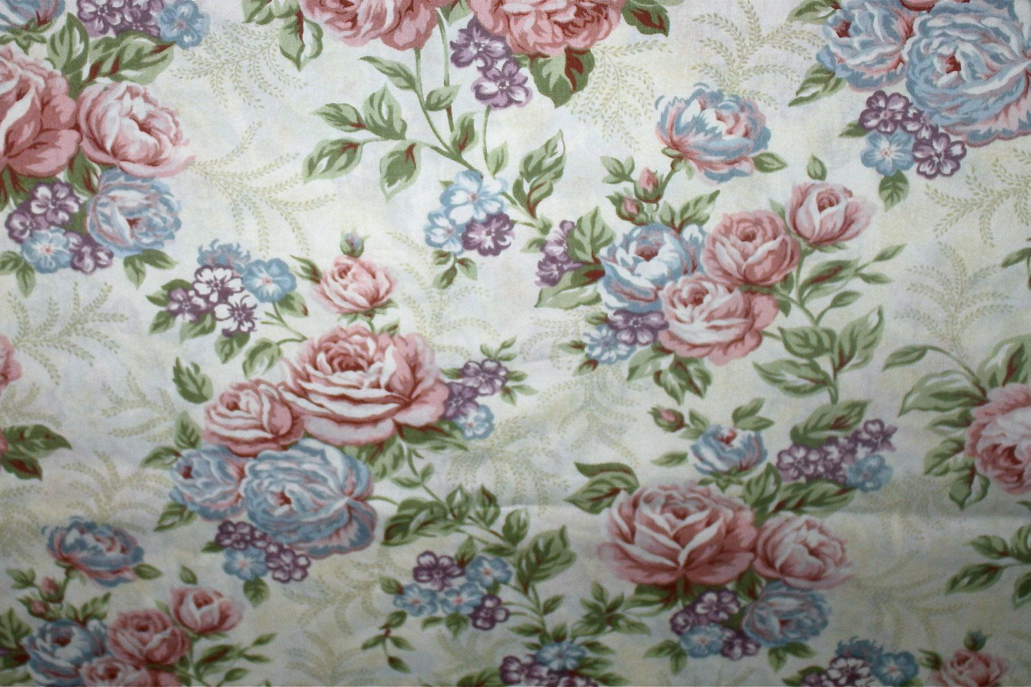 Classic: Cotton Fabric - Classic Cottons - Shabby Green Floral Print - 1 yard  OOP. $6.50, via Etsy.