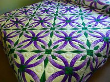 Amish Wedding Star Quilt Amish Double Wedding Ring Pattern NEW hand ...
