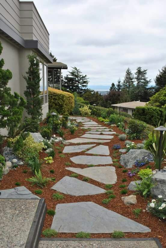 Side yard, stone path | Modern landscape design, Walkway ...