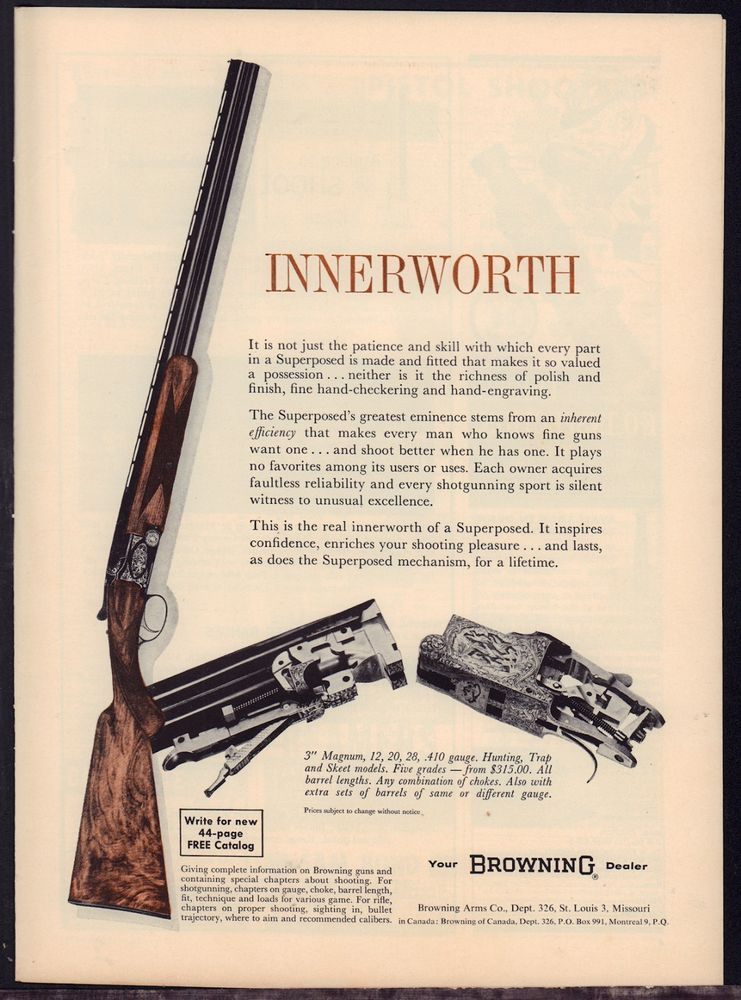 1962 BROWNING Superposed Shotgun AD w/ close-up photos of