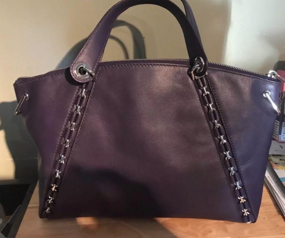 b2e4b45a8376 Michael Kors NEW Purple Iris Leather Sadie Large Zip Satchel Bag Purse   398-  66
