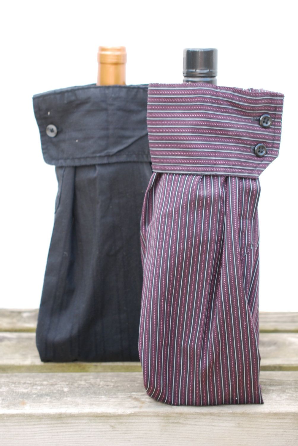 2 Upcycled Men's Dress Shirt Wine Sleeve Gift Bags Give