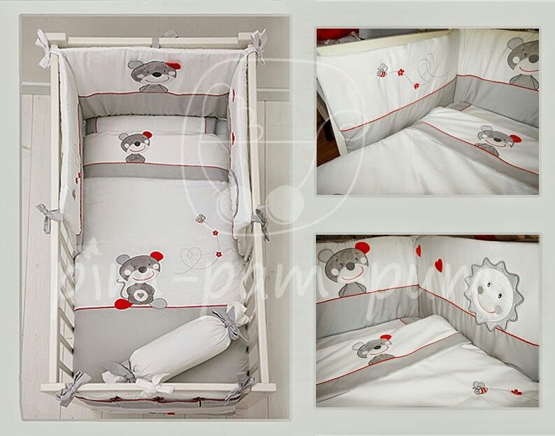 """Grip Bedding """"Little Mousse"""" White /Grey  #baby #bedding"""