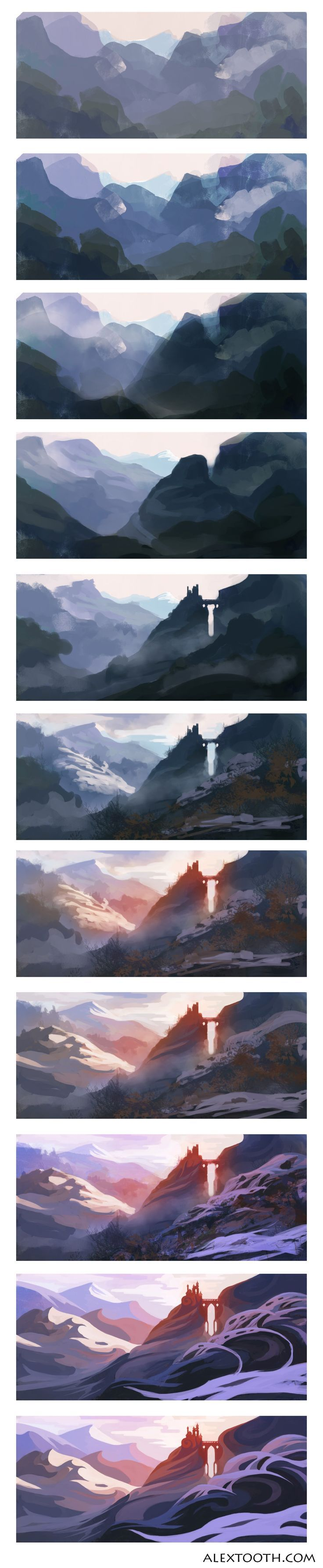 Mountain landscape step by step digital painting projects to try digital painting tutorials baditri Images