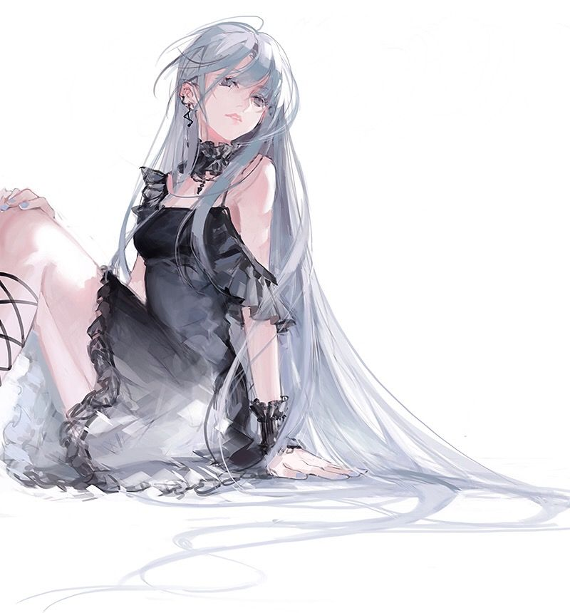 black gothic lolita grey hair girl