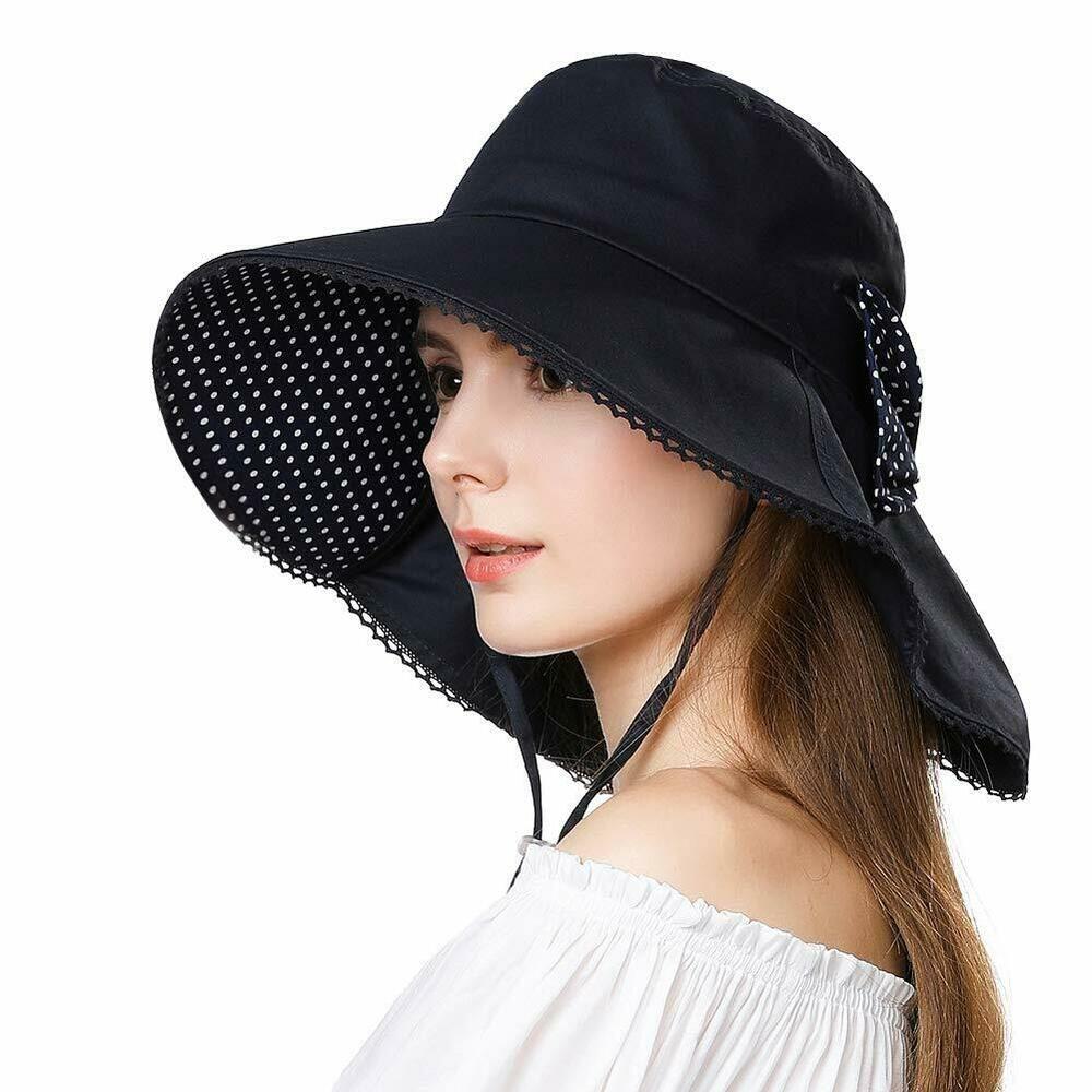 Women/'s Crochet Wide Brim Sun Hat in Cotton with UPF 50+