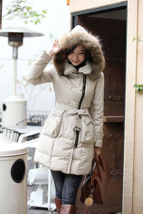 Puffy jacket suitable for snow + sweater dress | Winter ...
