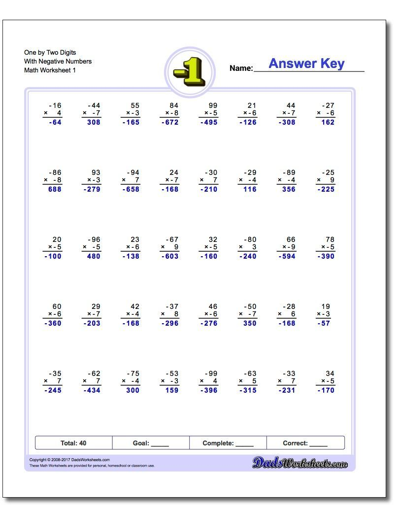 These Negative Numbers Worksheets Will Have Your Kids Working With Positive And Negative Int Subtraction Worksheets Negative Numbers Worksheet Negative Numbers Adding and subtracting negative numbers