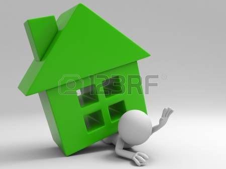 Personaje está atrapado por una casa verde.