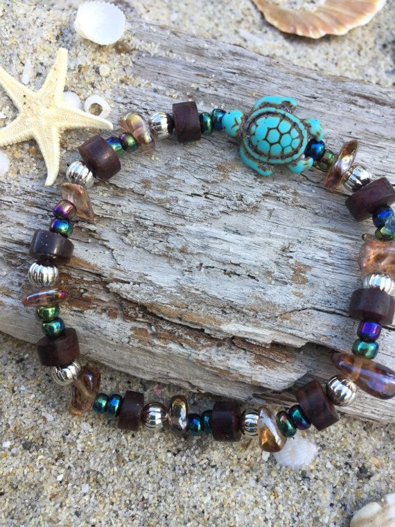 Turquoise Sea turtle beachy bracelet with by SunnybeachDesign