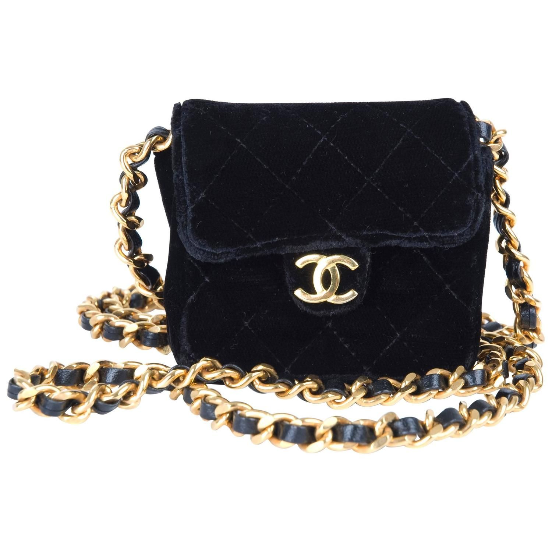 e340b7326dca Rare Vintage Chanel Micro Mini Black Velvet Gold HW Flap Bag 1980 ...