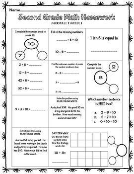 Freebie Eureka Math 2nd Grade Homework Sheet Module 1 Lessons 1 4