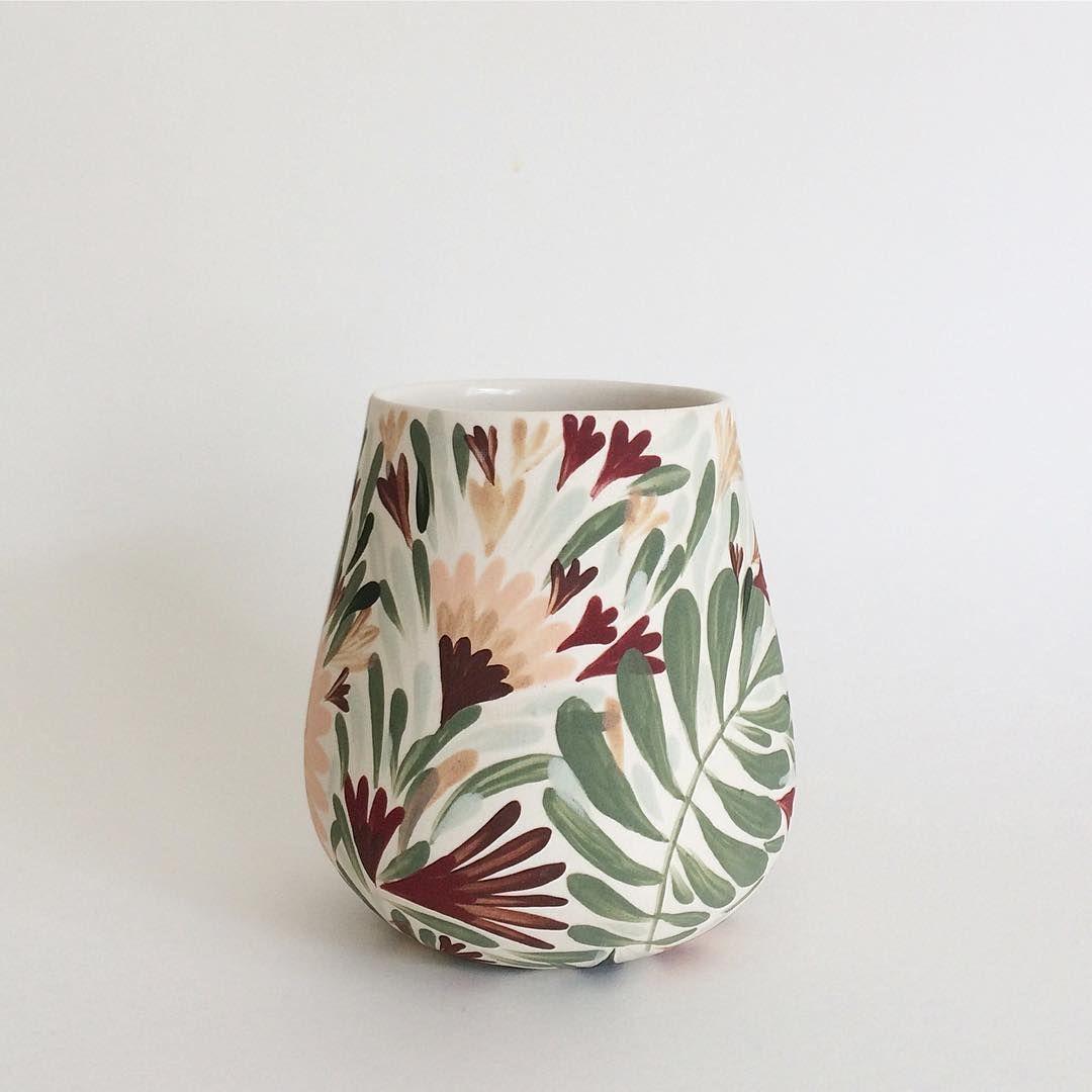"Λ N Λ S T Λ S I Λ on Instagram: ""Lovin this shape. Come get me at @westcoastcraft ✌🏼🌿😘 . . . . . #anastasiatumanova #botanicalceramics #ceramics #keramik #porcelain…"""