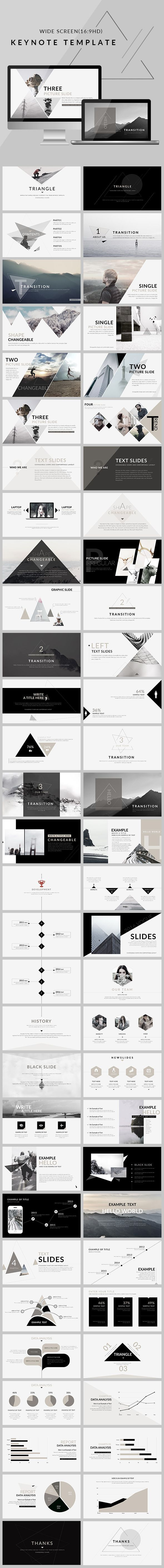triangle - clean trend keynote template | triangles, template and, Powerpoint templates