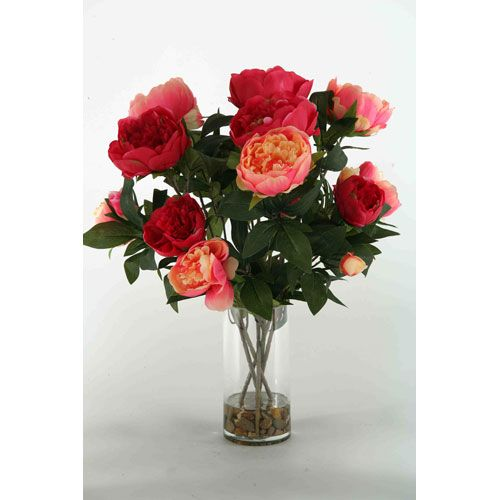 $100 Burgundy And Pink Peonies In Glass D W Silks Florals: Spring Faux Flowers & Plants Home De