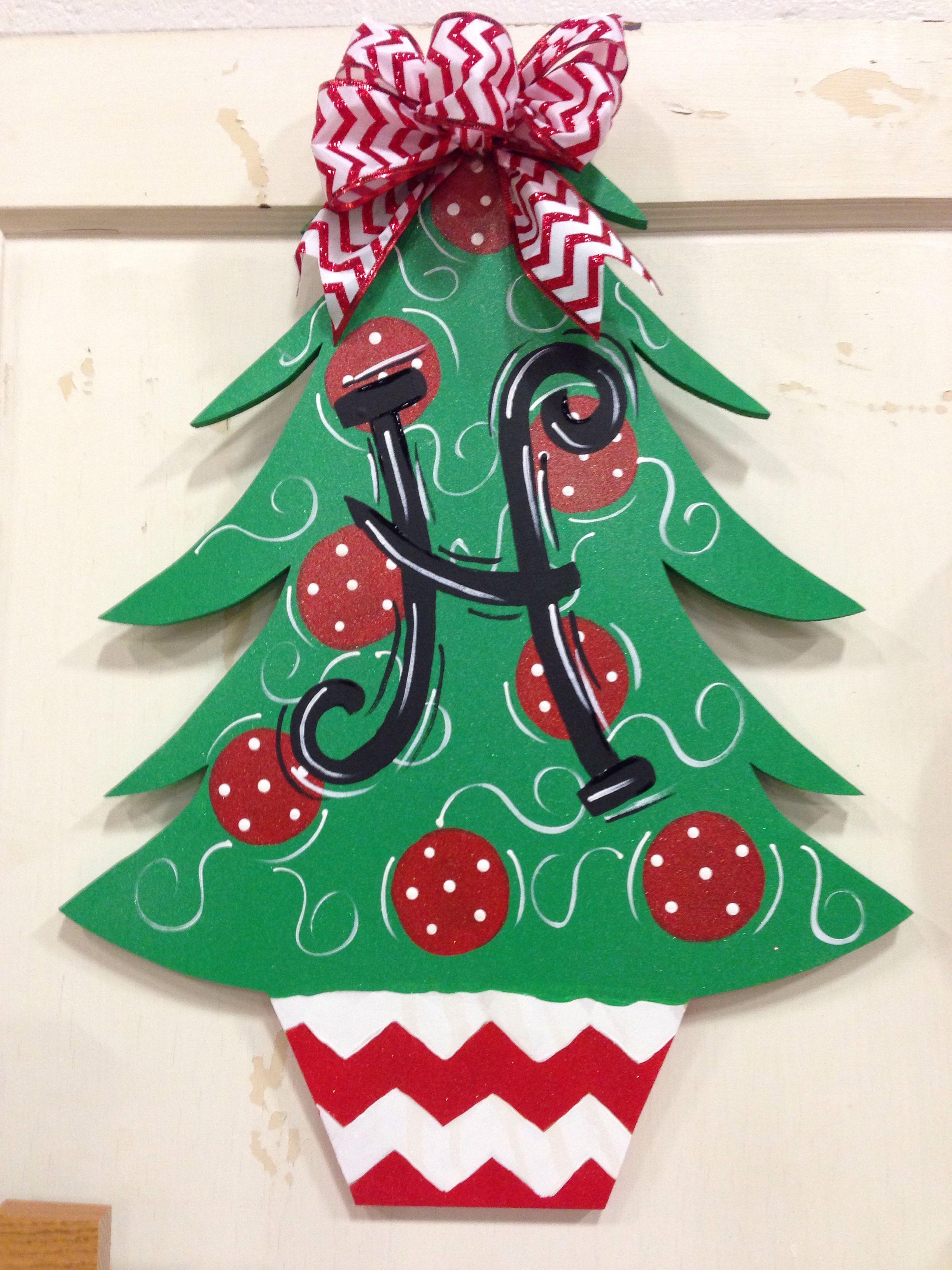 Christmas Tree Door Hanger Christmas Tree Painting