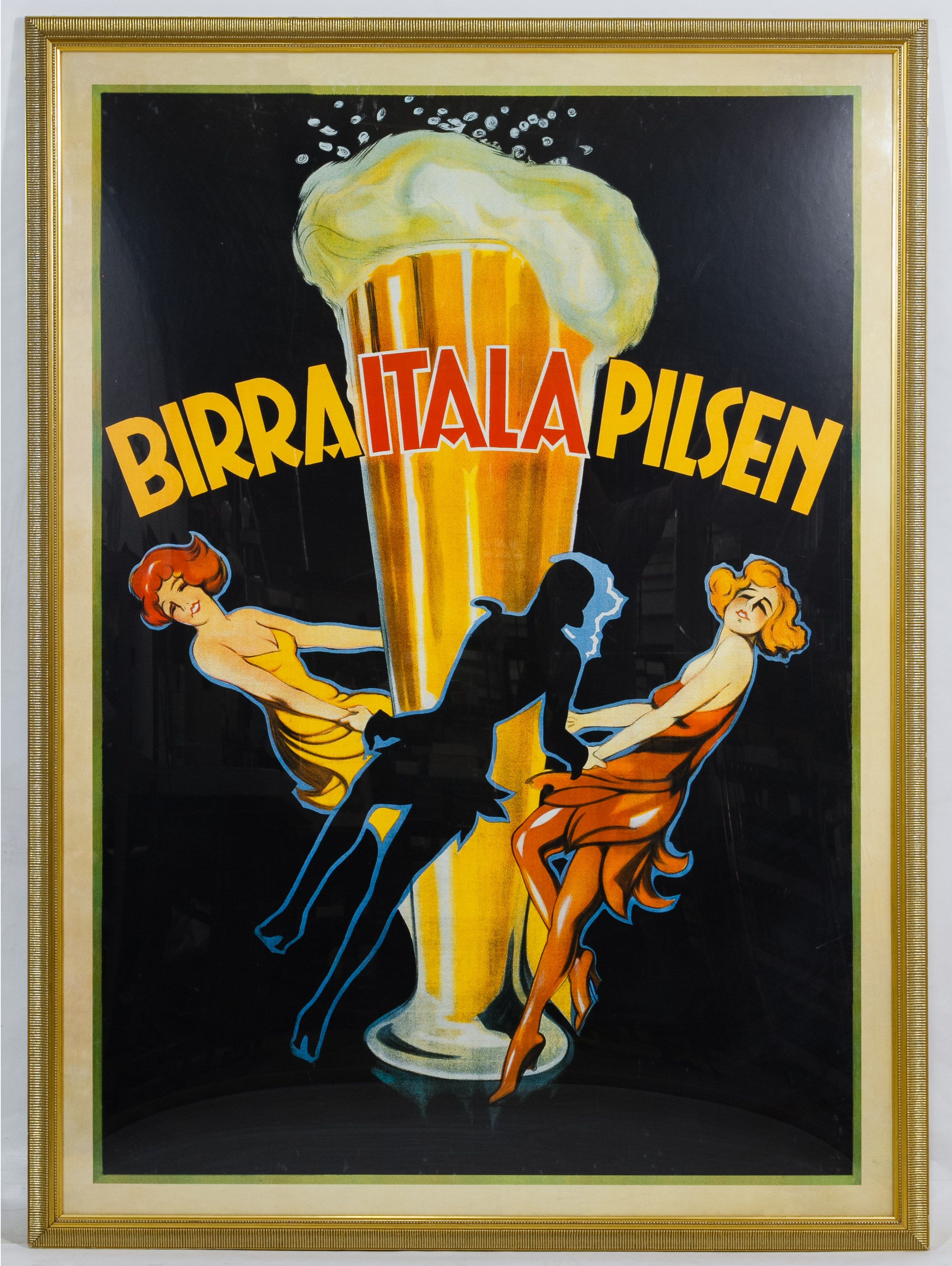 """Lot 570: Framed """"Birra Itala Pilsen"""" Reproduction Poster; c.1998, published in Italy by Top Art Inc., depicting three females dancing around a glass of beer"""