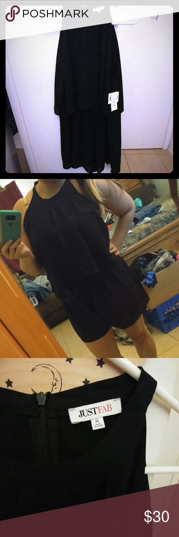 High neck black romper Bought from Justfab. Doesnt flatter me so only tried on and hung in closet. I ordered one size up from my normal size for it. Nwt JustFab Dresses