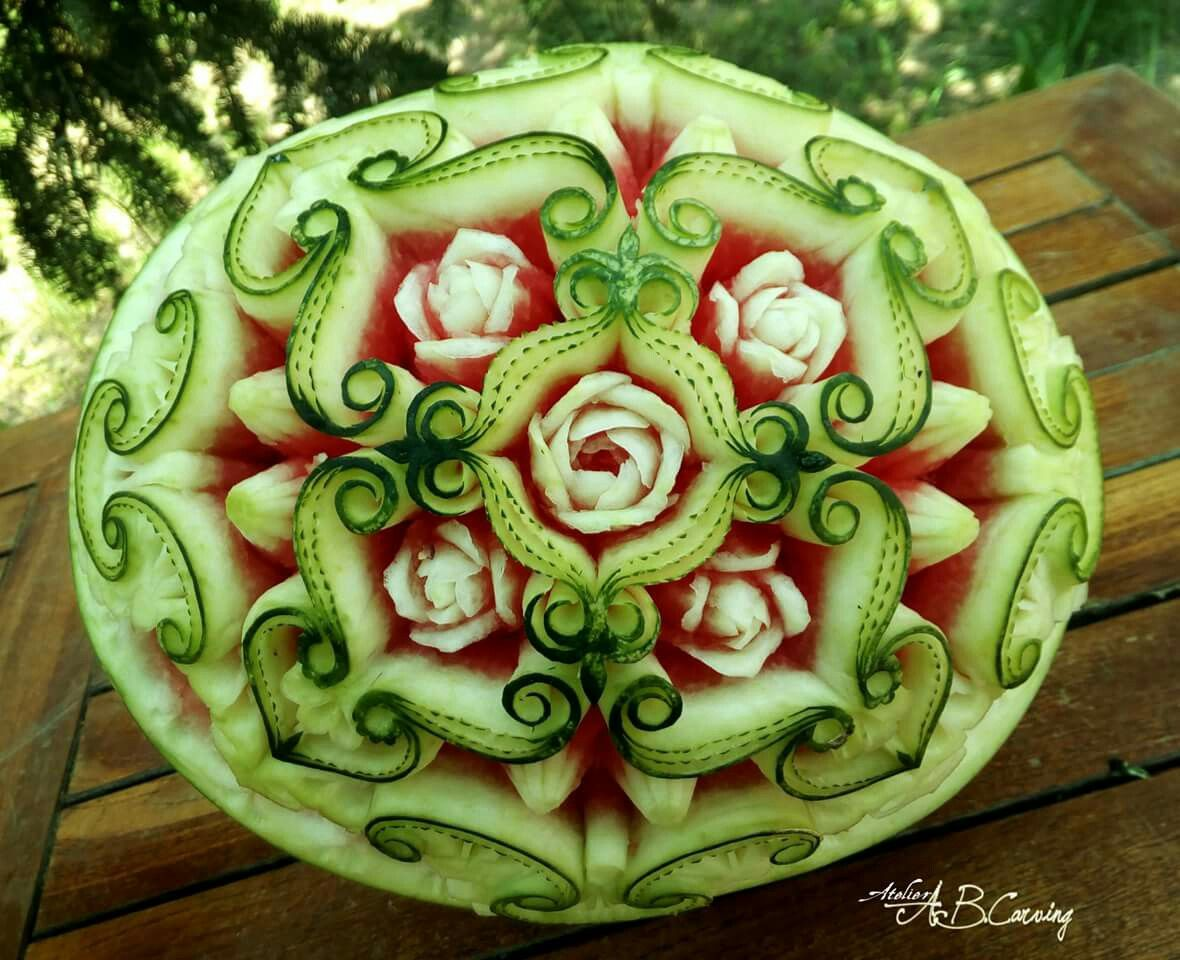 Watermelon carving mini flower by atelierabcarving watermelon