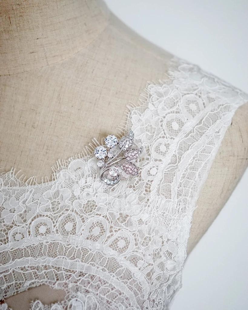 Silver Leaf Brooch Wedding Brides Bridal Diy Adornment Cubic
