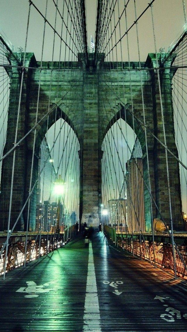 Nyc Iphone Wallpaper Brooklyn Bridge Night New York City A Colorful World In