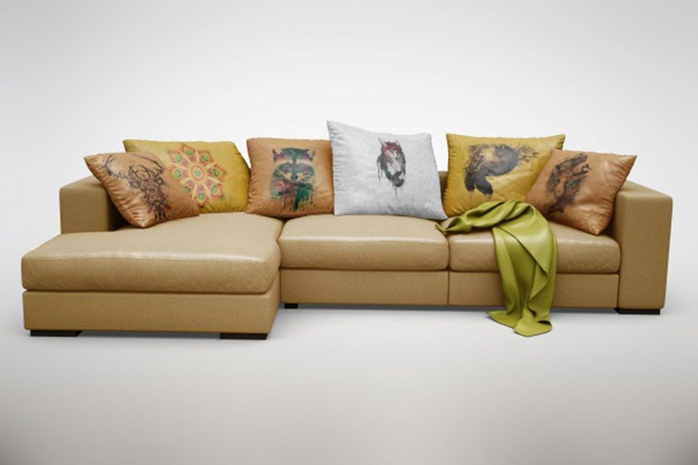 Free Realistic Comfy Sofa Mockup In Psd Comfy Sofa Sofa Creative Pillows
