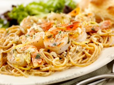 Chef Mike Isabella's Shrimp Scampi from Dr. Oz's website - Uses wine and chicken broth and no butter