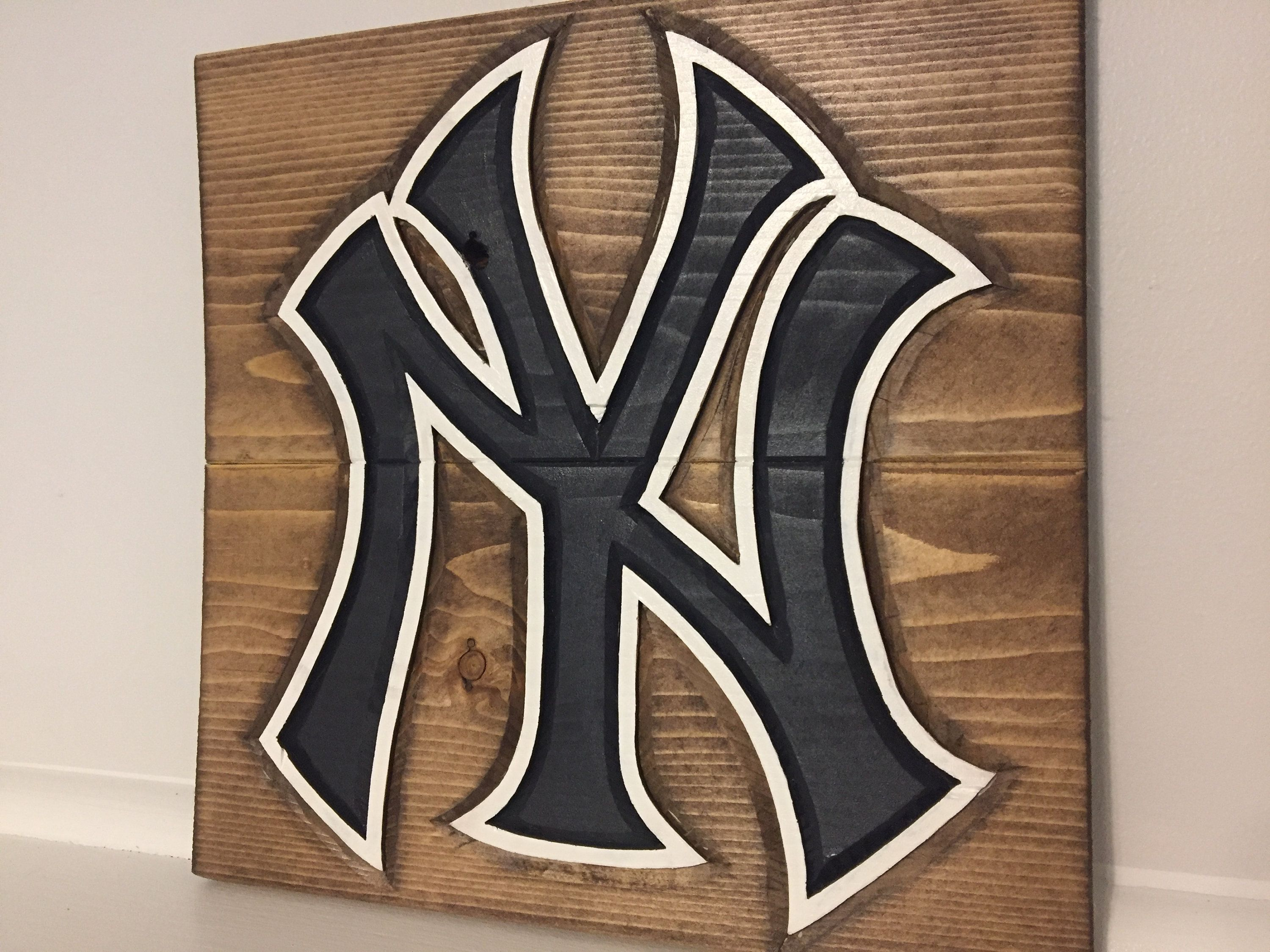 New York Yankees Custom Art Hand Carved And Painted On Wood By Anzalonewoodcrafts On Etsy Custom Art Painting On Wood New York Yankees