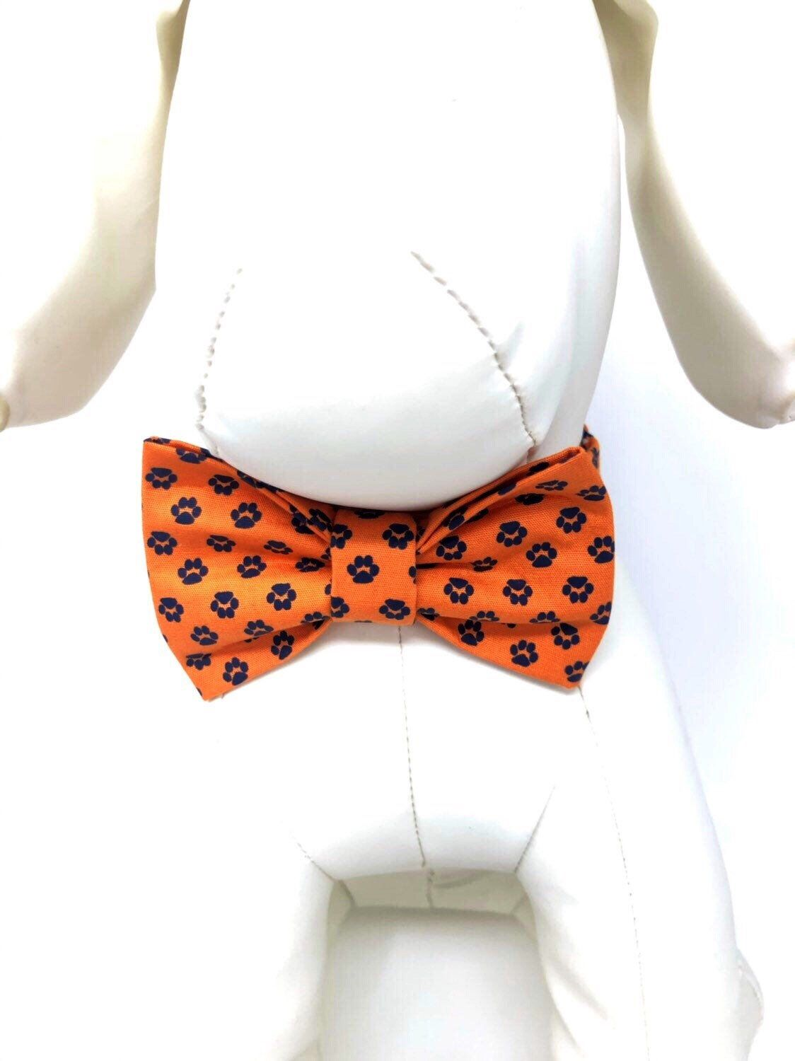 Orange and Navy Blue Paw Print Bow Ties and Collars for Dogs, Free ship in USA #pictureplacemeant