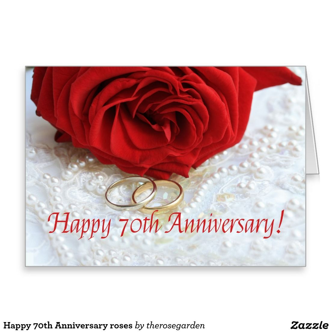 Happy 70th Anniversary roses Stationery Note Card Happy