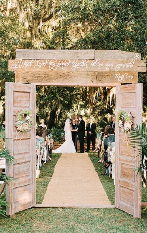 Rustic Doors Wedding Aisle