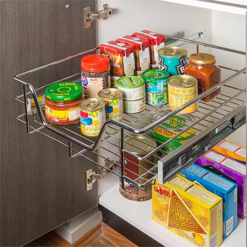 REstored 450mm Chrome Side Fix Sliding Cabinet Basket | Home DIY ...