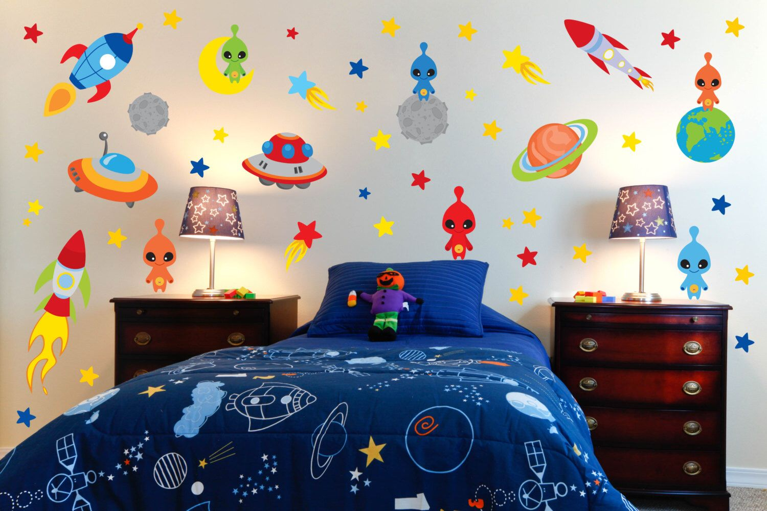Outer Space Alien Rocket Ship Planet Wall Stickers Peel Stick Etsy Space Themed Bedroom Outer Space Room Bedroom Themes