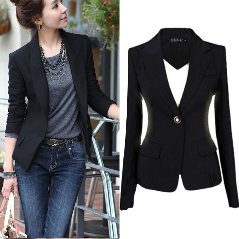 New Fashion S-3XL Women Blazer Jacket Suit Casual Black Coat Jacket Single Button Outerwear ...