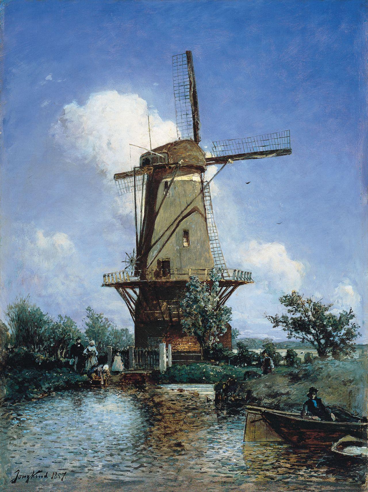 : Johan Barthold Jongkind (1819-1891),Windmill near Delft, 1857