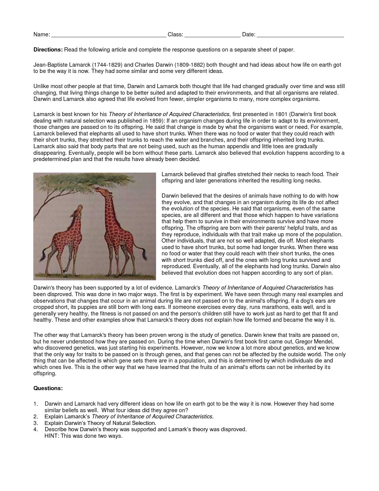 Darwin vs Lamarck | Work | Pinterest