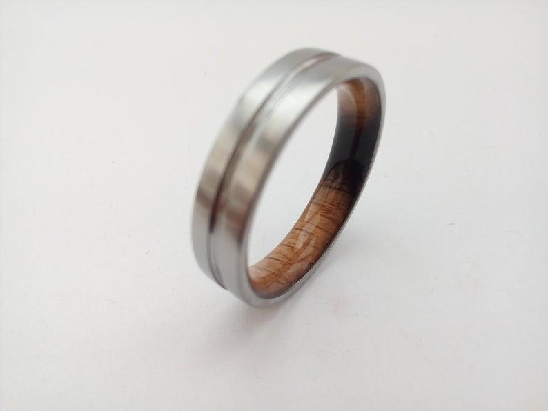 Mens wedding band Titanium ring Whiskey barrel wood Gift