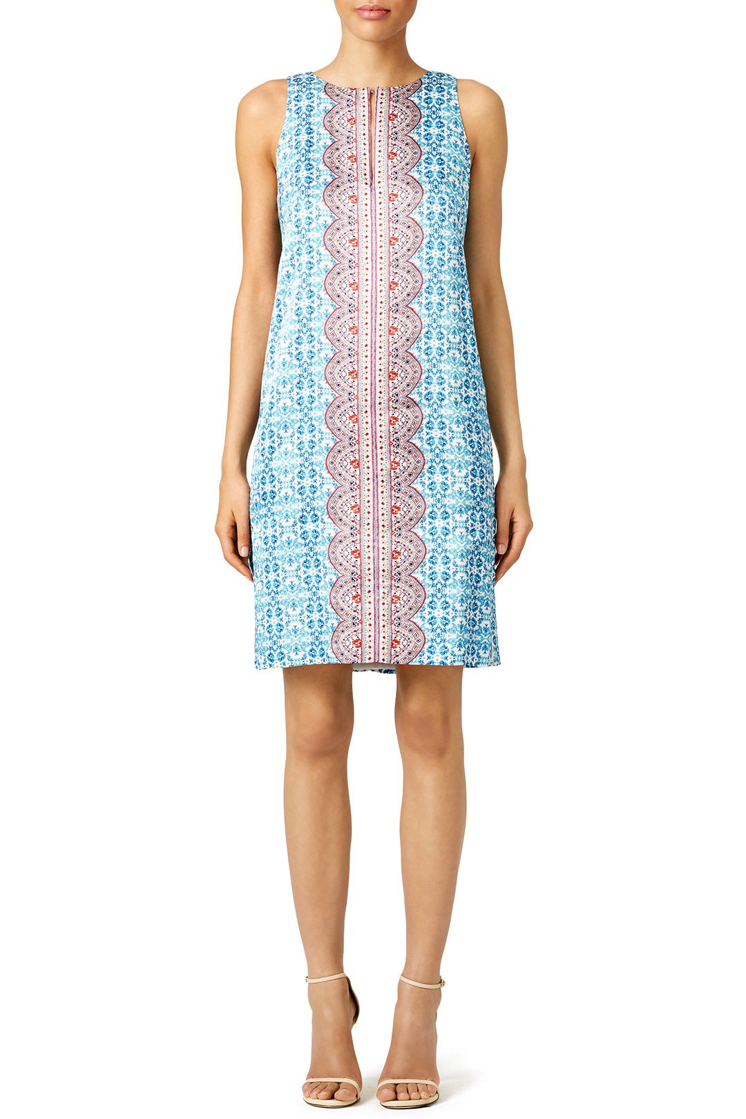 26287771f5e2 Nanette Lepore Blue Porcelain Print Shift Dress This blue shift dress with  red detail is perfect for a summer engagement party!