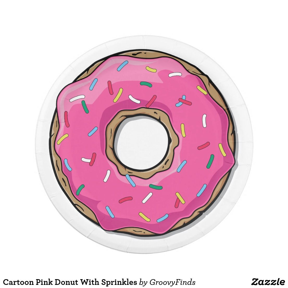 Cartoon Pink Donut With Sprinkles Paper Plate